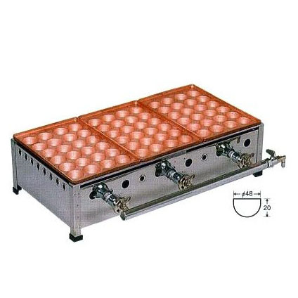 銅板 たこ焼機 ころがし式 24穴ジャンボ (おおだこ) 3連・2連・4連・5連 連数選択 [たこ焼き器 タコ焼き機]