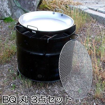 ドラム缶バーベキューコンロ丸型 3点セット (丸網、丸鉄板付き)本体W56cm×H53cm