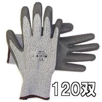 作業手袋 耐切創保護手袋 ノンカットグリップ ビッグドラゴン BD-501 120双セット サイズ選択 M/L/LL富士グローブ