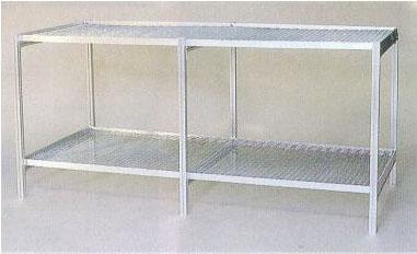 フラワースタンド温室用2段棚 アルミベンチMMN5-2【smtb-ms】