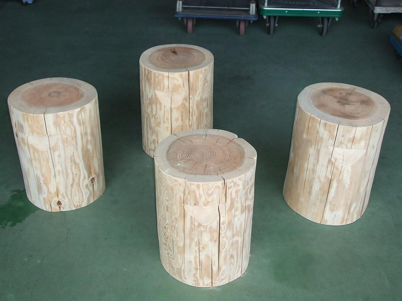 杉 丸太椅子 取手付 丸太 いす スツール 直径約30~35cm 高さ45cm 4脚セット