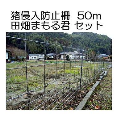 猪侵入防止柵 田畑まもる君 50mセット 線径5mm 亜鉛メッキ高1.2m×幅2.0m 支柱、結束線付き 防獣柵