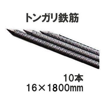 イノシシ防獣用 ガードフェンス用 トンガリ支柱16mm×1800mm 10本組 防獣杭 多用途