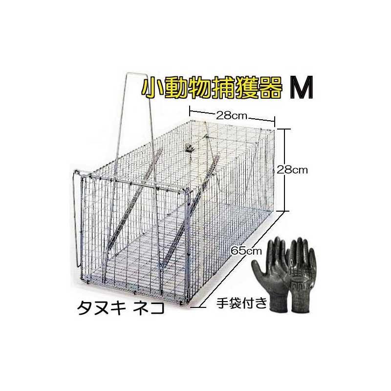 丸十金網 イタチ 猫 小動物捕獲器 (作業手袋付き)アニマルキャッチャー 餌吊式 M型 ジャンボ捕獲器 日本製