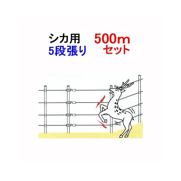 シカの侵入防止 電気牧柵器 5段張・500m・ FRP支柱セット(918)