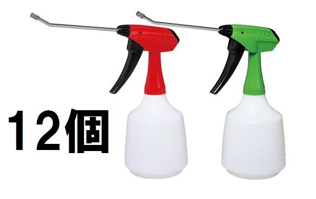 広範囲の噴霧や液を多く使用するときは 1000mL大型ピストルタイプが大変役立ちます 全高 31cm 幅 29cm ボトル径 12cm 製品重量 194g フルプラ 各6個 1000mL ロングアルファ レッド 激安☆超特価 全2色 グリーン 12個入 [再販ご予約限定送料無料] 1回の加圧で2mL噴霧 No.555 ダイヤスプレー