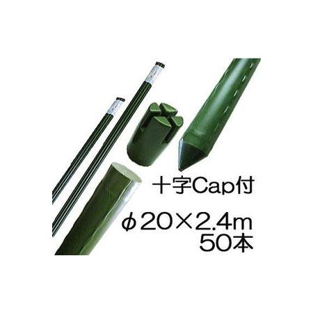 法人向 園芸支柱 イボ付 鋼管竹 十字キャップ付 φ20mm×2.4m 50本単位 シンセイ