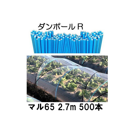 ダンポールR マル65 ×2.7m 青 トンネル幅140cm 徳用 500本 [トンネル支柱 アーチ支柱] 宇部エクシモ