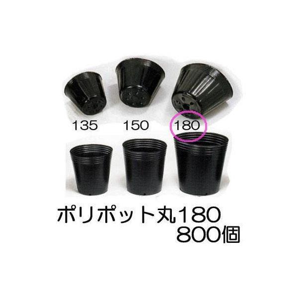 ポリポット ポリ鉢 丸型ポット 18cm 黒丸 180 底穴1 徳用800個 中部農材 CNK