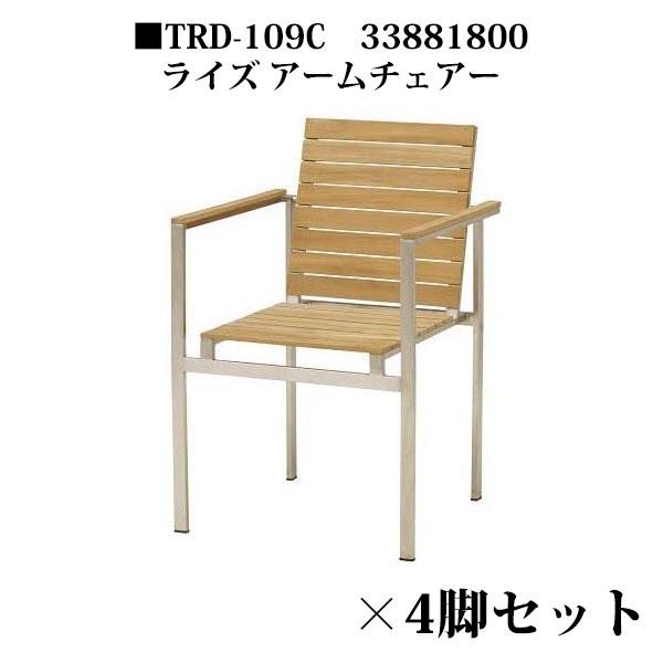 ライズ アームチェアー TRD-109C 33881800 ×4脚セット チーク材・完成品 タカショー
