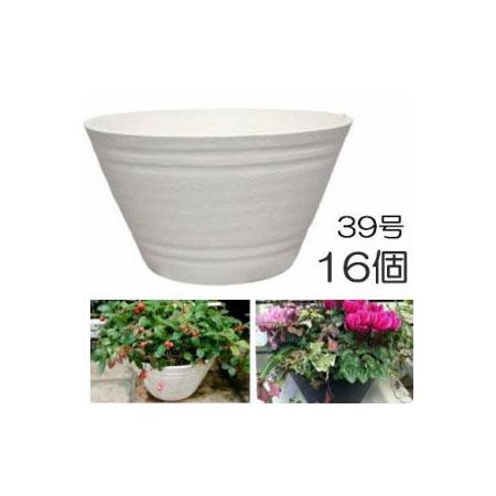 明和 セラアート 平鉢 39号 外径390×高さ210mm 白色 16個販売