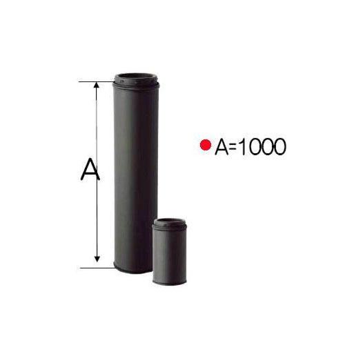 ストロング断熱 黒耐熱 二重 煙突 ステンレス 直筒 φ150mm×1000mm バンド1個付き[内径150mm×外径200mm 厚み0.5mm]DANTEX