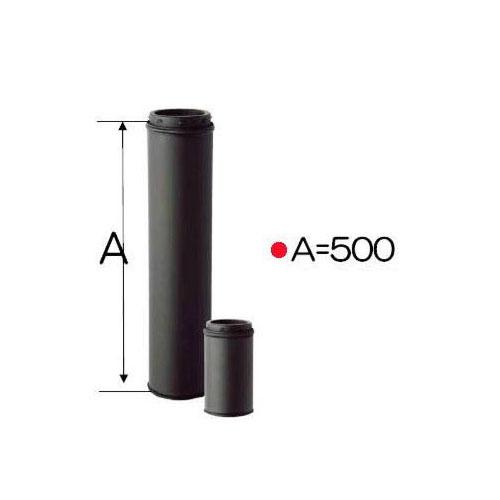 ストロング断熱黒耐熱ステンレス 二重煙突 直筒L500mmφ150mm バンド1個付き[内径150mm×外径200mm 厚み0.5mm]DANTEX