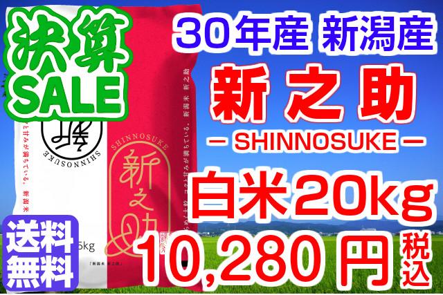 30年産 新潟県産 新之助!送料無料!(地域限定)白米20kg(5kg×4袋)お米マイスター特選 贈り物・ご家庭用においしい新潟米をどうぞ!