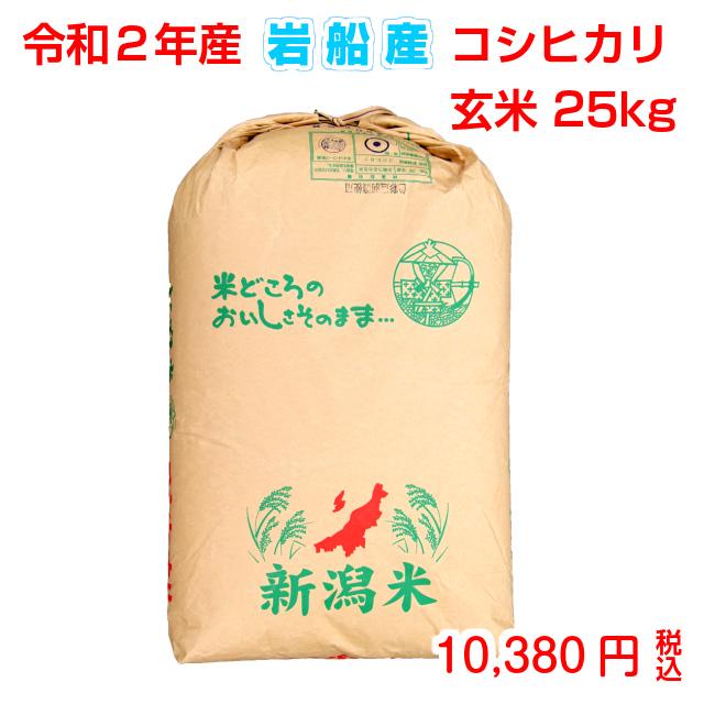 令和元年産 岩船産コシヒカリ 玄米25kg(検査袋1袋)お米マイスター特選  贈り物・ご家庭用においしいコシヒカリをどうぞ!