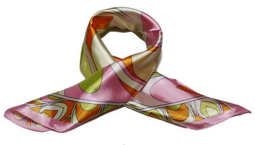 カラフル艶やかなシルク調スカーフ シルクロードの起点 西安 美品激安 おしゃれ 受注生産品 からの贈り物 60角企業制服スカーフ