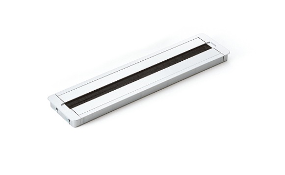 コードを通す部品 ブラシ付き LAMP スガツネ 工業配線孔キャップ 長方形型PC2007I400EZ002 マットシルバー