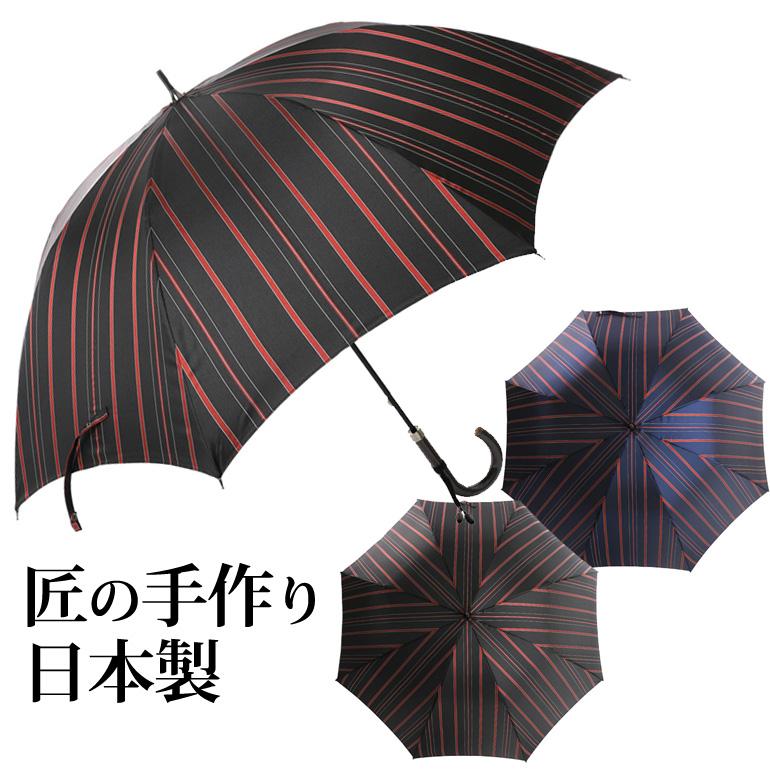 甲州織ロンドンストライプ柄 紳士用 大きい長傘 8本骨 日本製 ネイビー/ブラック