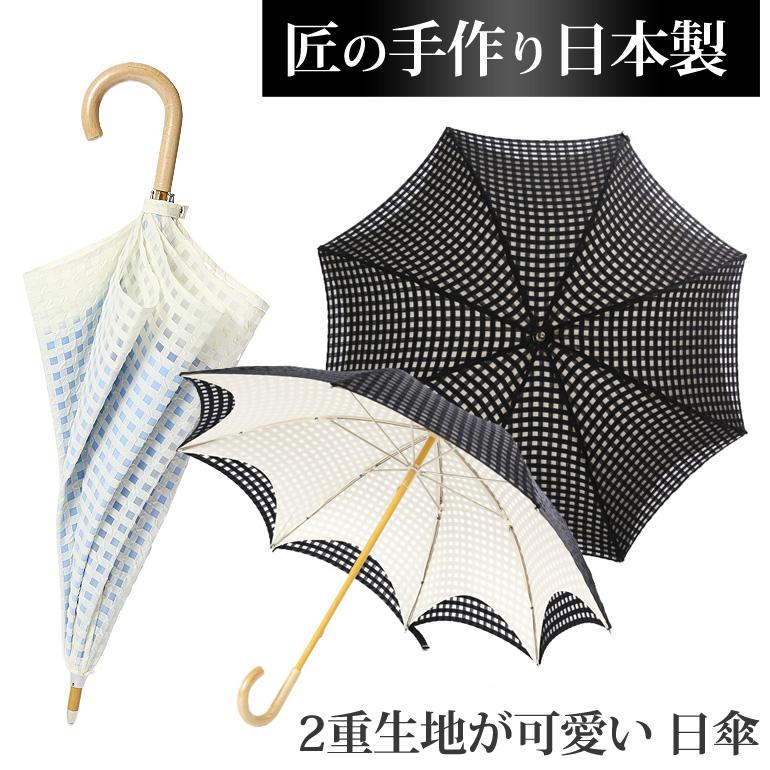 絆傘処 オパール二重張加工パラソル 婦人 長日傘 日本製 7本骨 黒/ブルー