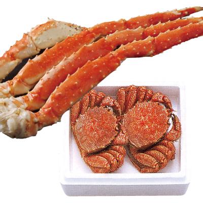 毛蟹・たらばがにセット 毛蟹(大)/活600gをボイル(茹であがり約500g前後・2尾)・たらばがに脚/3Lサイズ600g