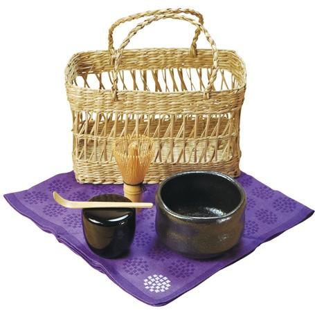 抹茶の道具を、持ち運びに便利な篭に収めました ◇高嶋金物店◇【お抹茶セット】おでかけ茶器セット 黒