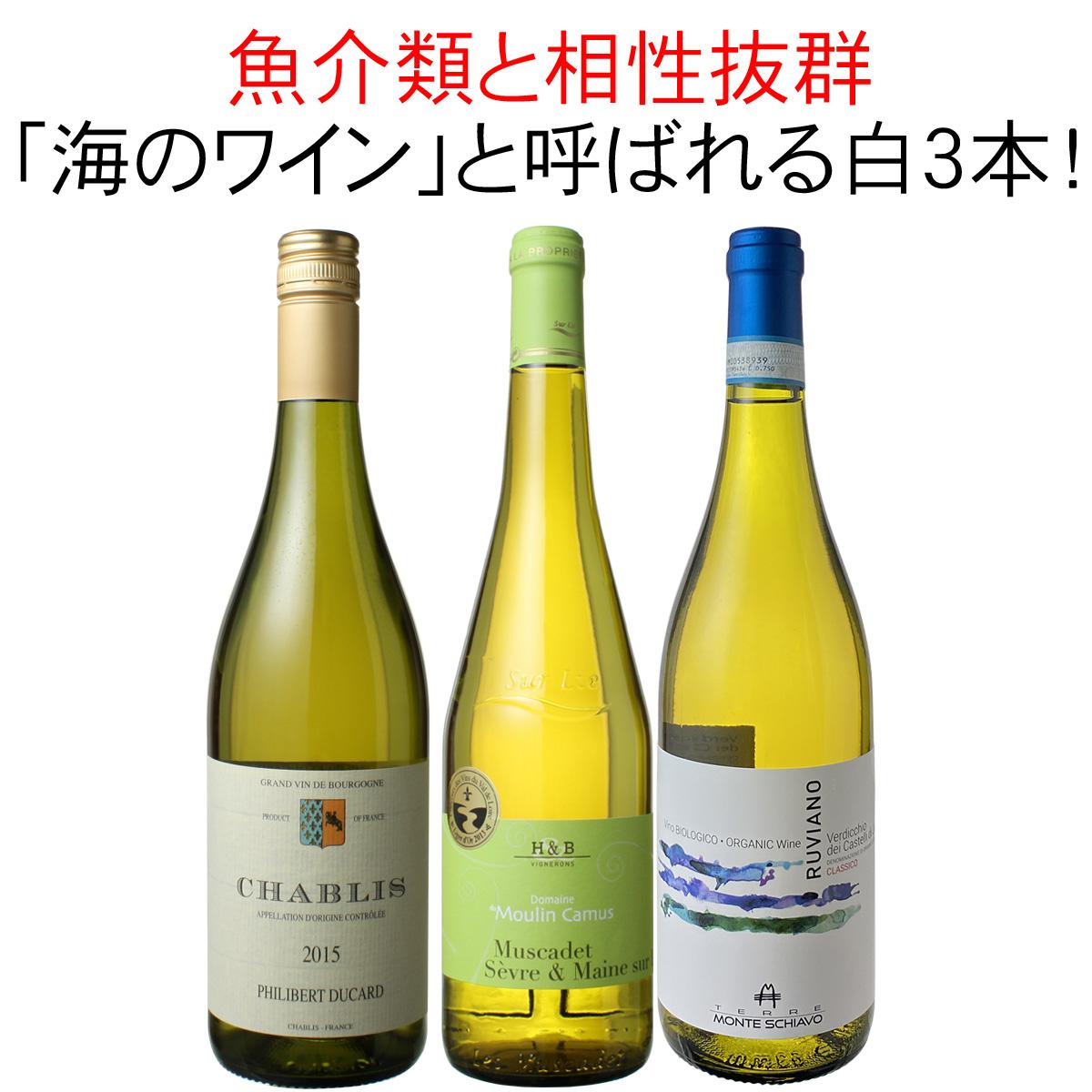 ワインセット 魚介類と相性抜群 海のワイン 白ワイン 3本 セット シャブリ ミュスカデ ヴェルディッキオ 家飲み 御祝 誕生日 ハロウィン ギフト プレゼント