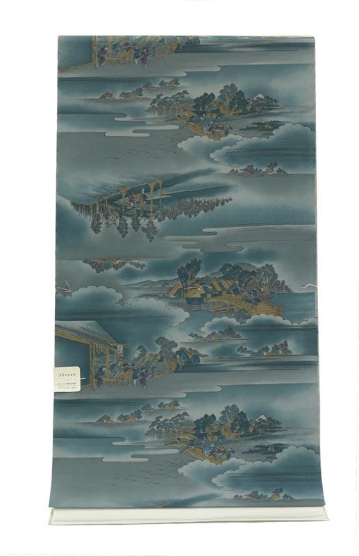 ポリエステル 男物 肩裏(羽織裏地) 山水B ブルー 洗える肩裏 広幅 送料無料