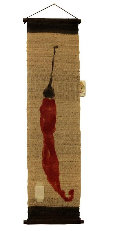 麻タペストリー 刷毛染め 唐辛子 赤 麻100% タペストリー 和インテリア 刷毛染め 万葉舎 30cm×120cm 送料無料