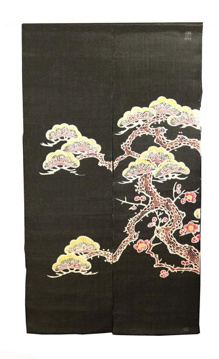 麻のれん 黒松 本型染め 暖簾 のれん 麻100% 日本製 お正月 迎春 88cm×150cm 送料無料 京染め 本格加工 和インテリア