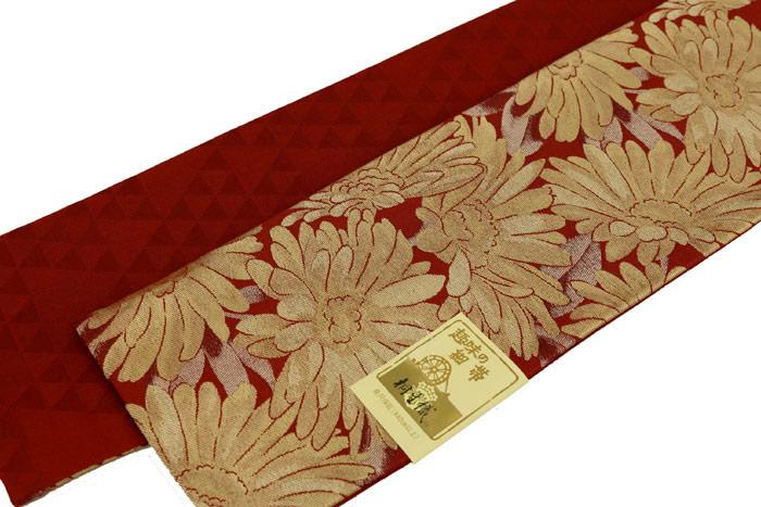 リバーシブル半巾帯 フラワー 赤 ポリエステル100% お仕立て上がり 東レ 半幅帯 細帯 小袋帯 長尺