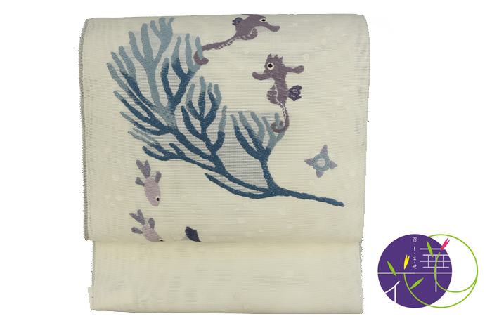 日本製 タツノオトシゴ 白 未仕立 召しませ花 正絹 九寸名古屋帯 夏物
