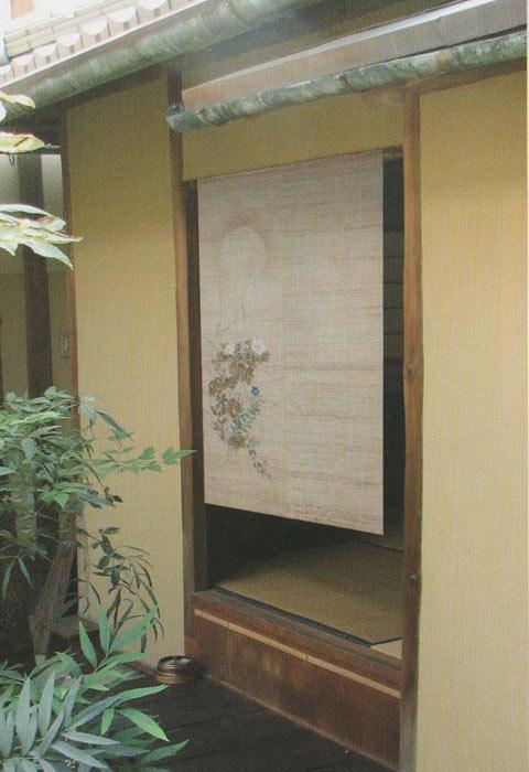 麻のれん 秋草に月 手描きのれん 暖簾 のれん 麻100% 88cm×150cm 日本製 万葉舎 琳派 和インテリア