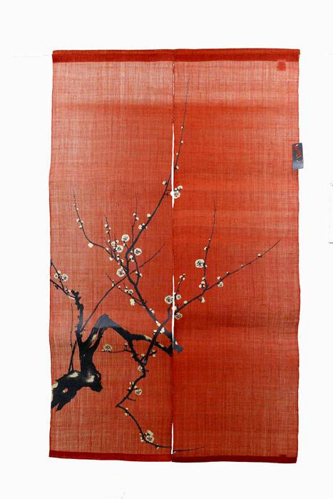 麻のれん 梅 赤 漆染め 暖簾 のれん 麻100% 88cm×150cm 日本製 万葉舎 琳派 光琳 和インテリア