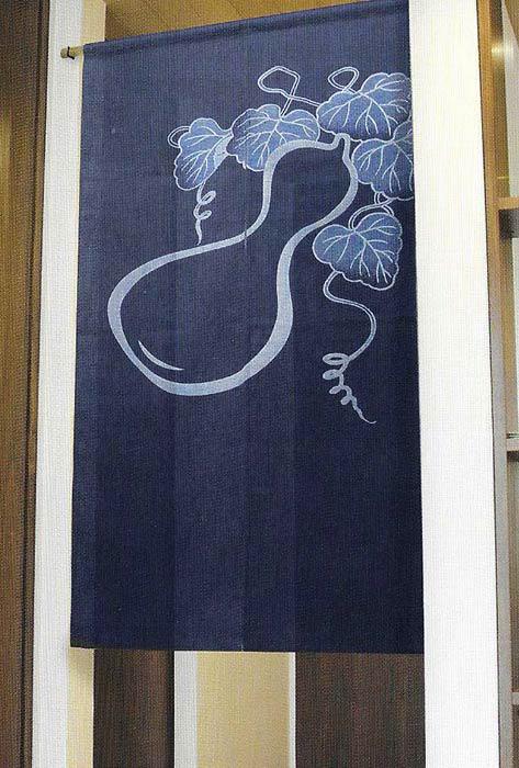 藍染のれん ひょうたん 綿67% レーヨン33% 暖簾 万葉舎 85cm×150cm 日本製 和インテリア 麻