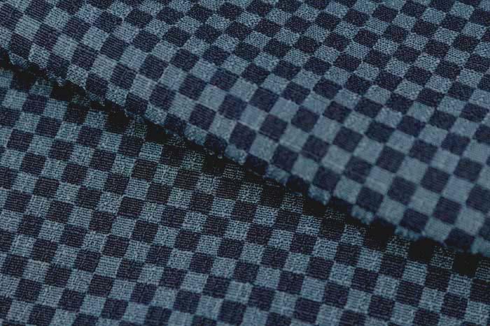 東レ シルジェリー 男物きもの 反物 市松 紺 洗える着物 男物 着尺 ポリエステル 広巾 広幅 日本製