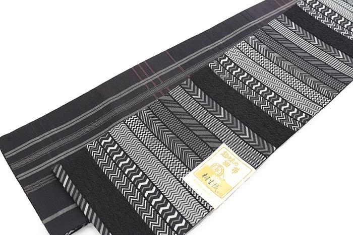 リバーシブル半巾帯 ヘリンボーン 黒 ポリエステル100% お仕立て上がり 半幅帯 細帯 長尺 日本製