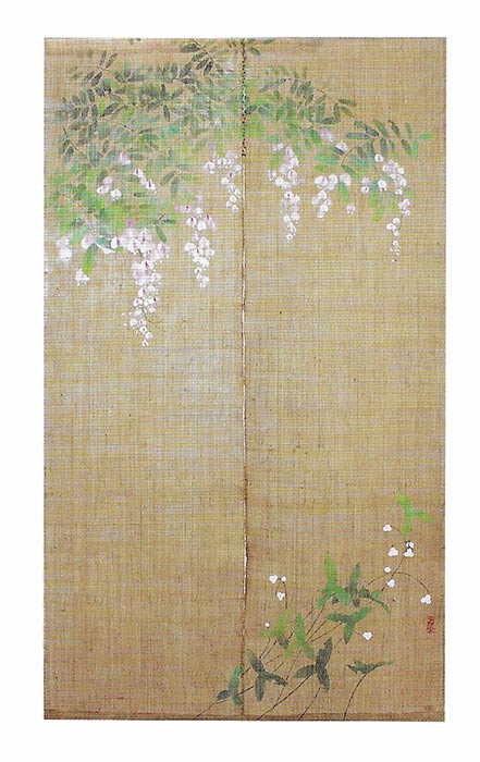 手描きのれん 藤 伊藤若冲 のれん 暖簾 万葉舎 88cm×150cm 日本製 和インテリア 麻
