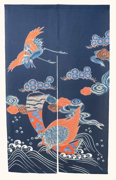 手捺染のれん 鶴亀紋様 本藍 のれん 暖簾 万葉舎 88cm×150cm 日本製 和インテリア 麻
