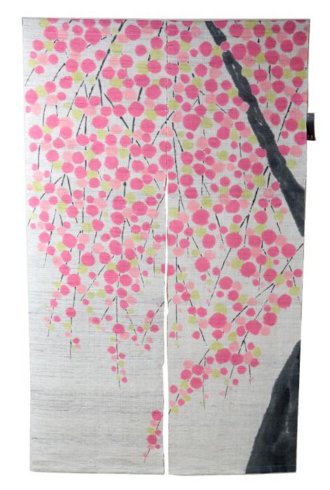 麻のれん さくら おぼろ染め のれん 暖簾 万葉舎 88cm×150cm 日本製 和インテリア 麻