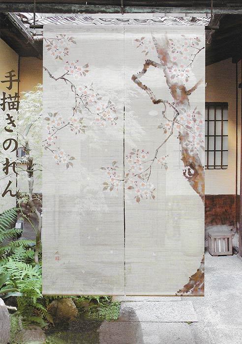オススメ 江戸琳派 手描きのれん 桜図 のれん 暖簾 日本製 88cm×150cm 和インテリア 麻 爆売りセール開催中 安心と信頼 万葉舎