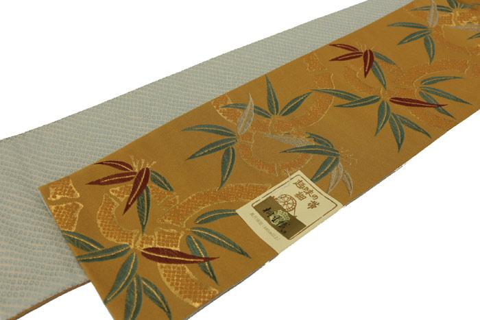 リバーシブル半巾帯 竹の丸 金茶 ポリエステル100% お仕立て上がり 東レ 半幅帯 細帯 小袋帯 長尺