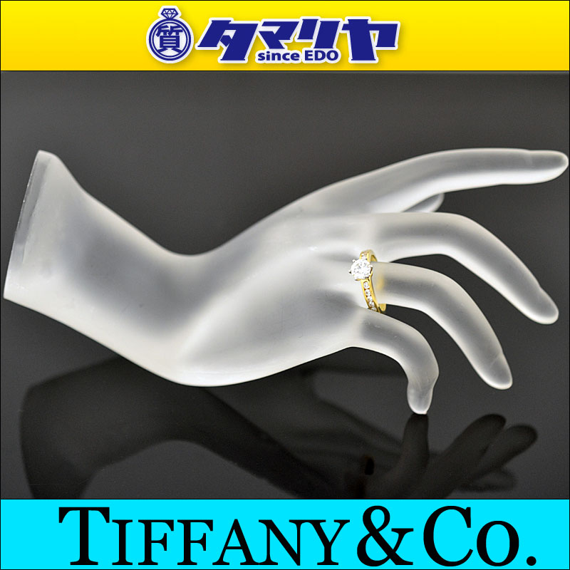 蒂芙尼 Tiffany 钻石 (D0.68ct F-如果) 接龙辉煌切的环 750 K18 YG 黄色金 Pt950 铂金日本大小约 10 发出 # 50 女士 27160302