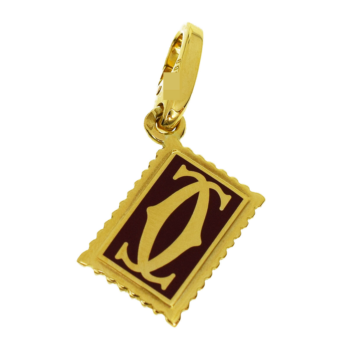 Cartier Cartier red lacquer stamp 2C charm 750 K18 YG yellow gold stamp top  pendant 30861203