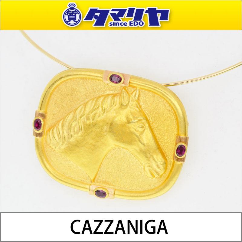 市场CAZZANIGA kattsuanigarubi马pendantoburochichoka 750 K18 YG黄色黄金design ROMA Italy项链27100233