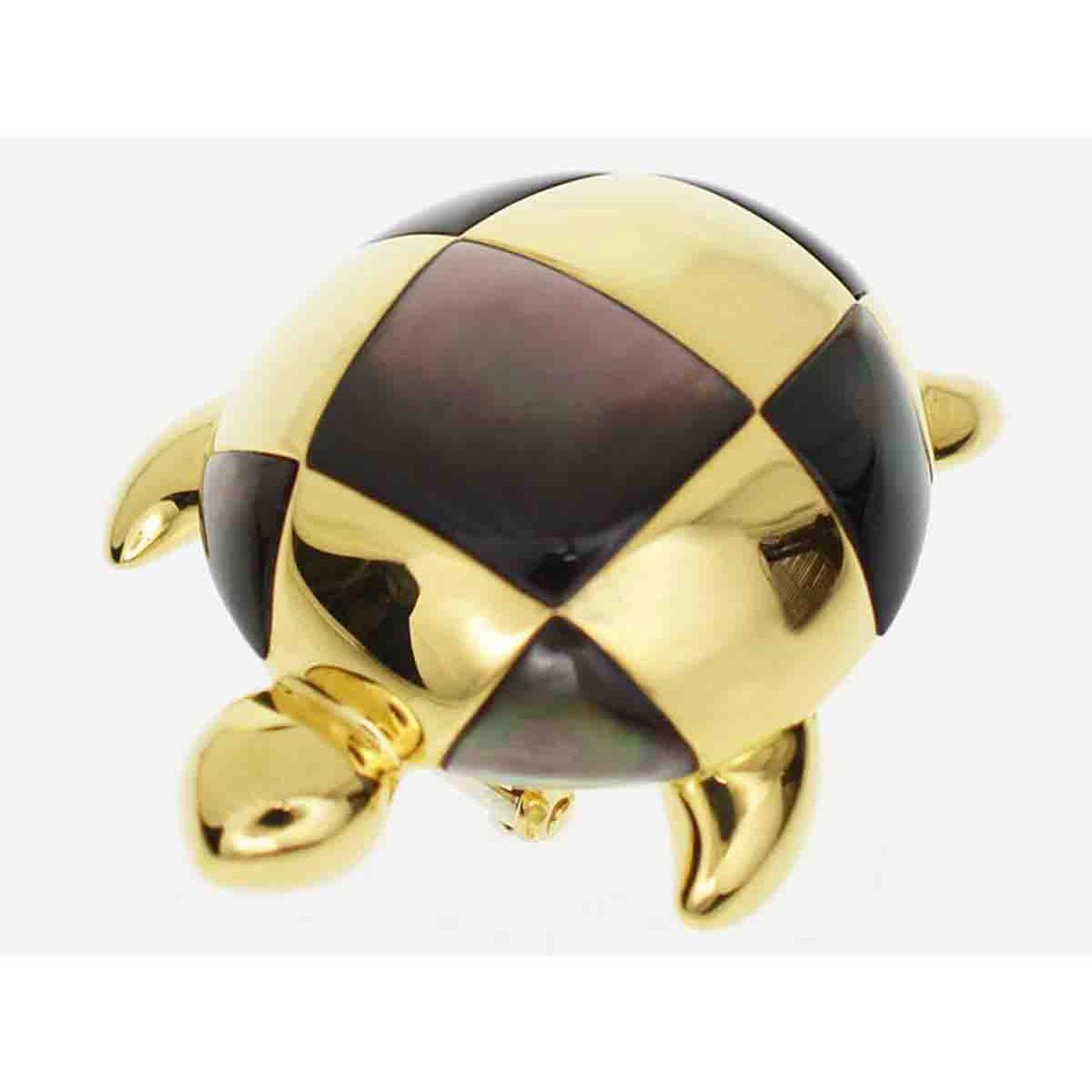 MAUBOUSSIN モーブッサン turtle タートル ブローチ 750 K18 YG イエローゴールド ブラックシェル【送料無料】【代引き手数料無料】カメ 亀 レディース【中古】27861203