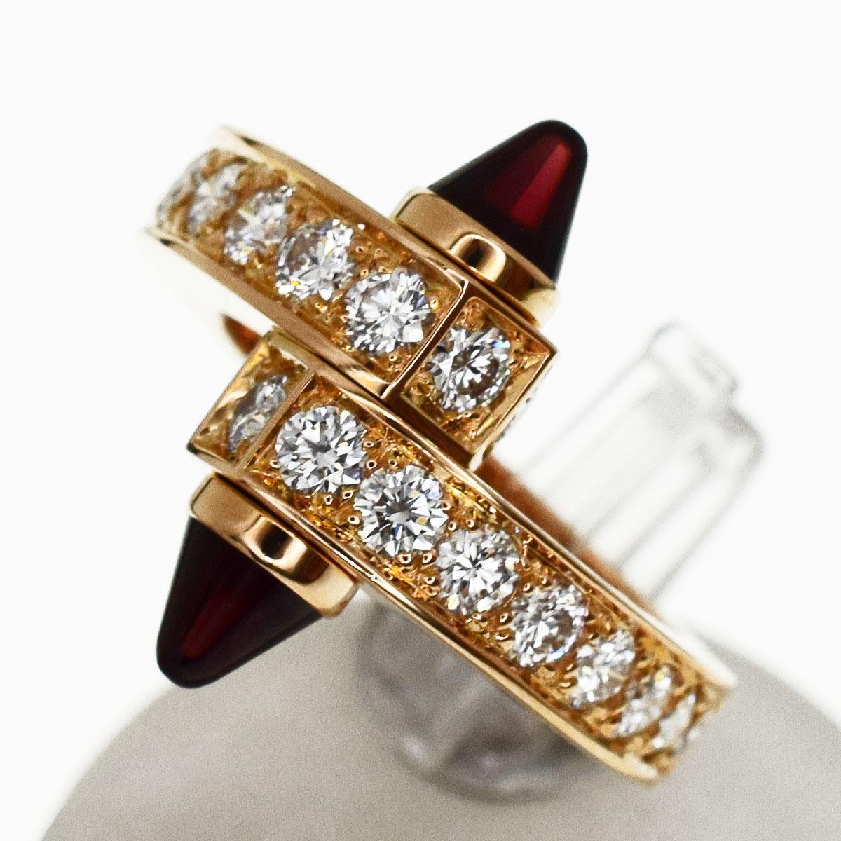 Cartier カルティエ ダイヤ Menotte メノット リング ガーネット 750 K18 PG ピンクゴールド 日本サイズ約11号 #51【送料無料】【代引き手数料無料】指輪 レディース【中古】31761112