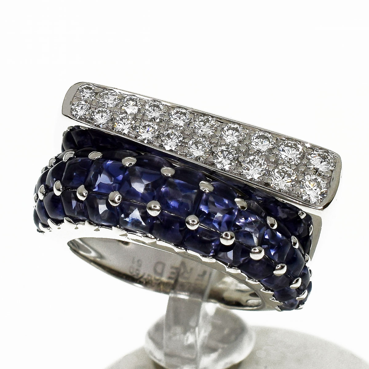 FRED フレッド サクセス ダイヤ アイオライト リング ミディアムモデル K18 750 WG ホワイトゴールド 日本サイズ約11号 #51【送料無料】【代引き手数料無料】レディース 指輪【中古】31420606