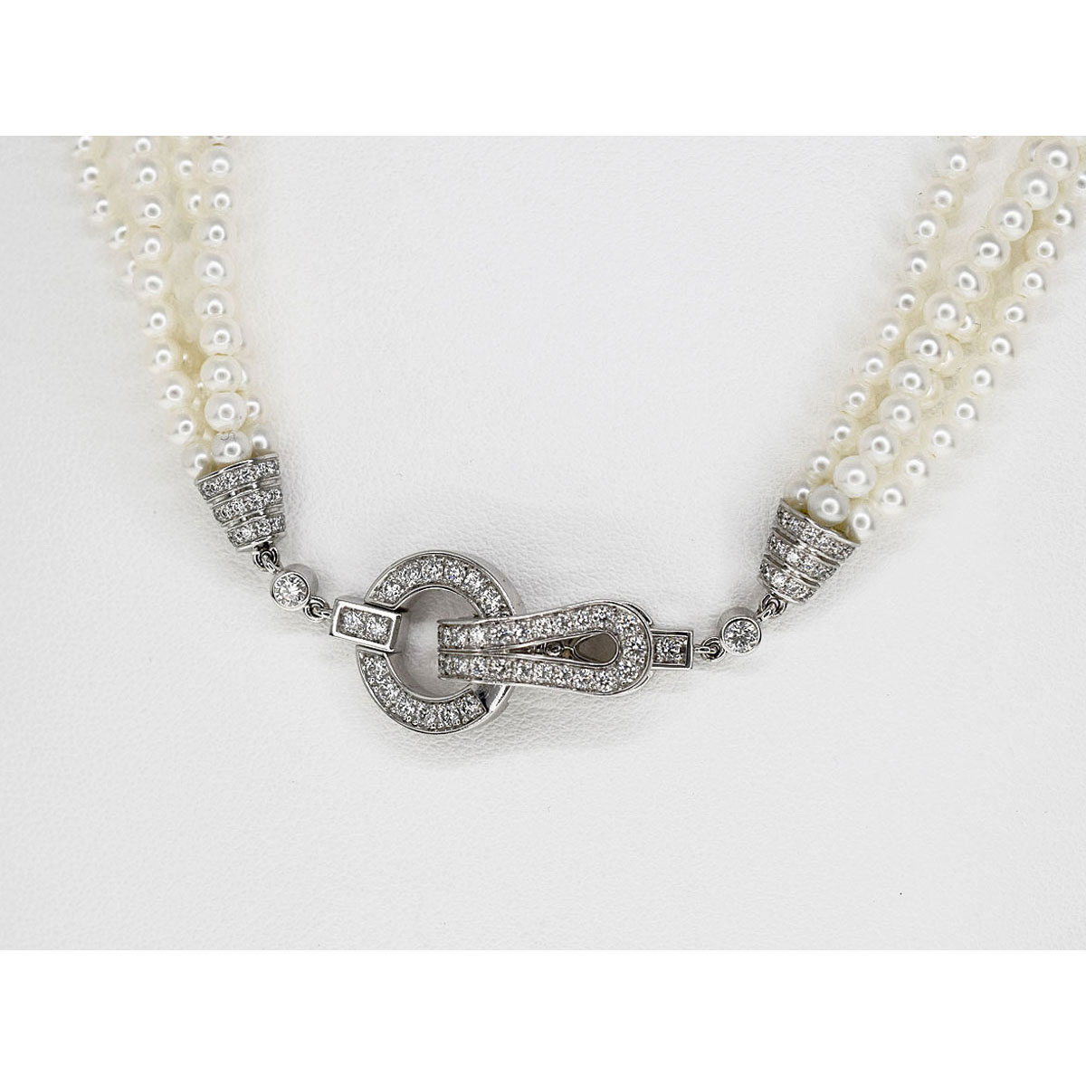 現行品 Cartier カルティエ ダイヤ(D1.02cts)パール アグラフ ネックレス 750 K18 WG ホワイトゴールド N7219600【送料無料】【代引き手数料無料】真珠 レディース【中古】31911207