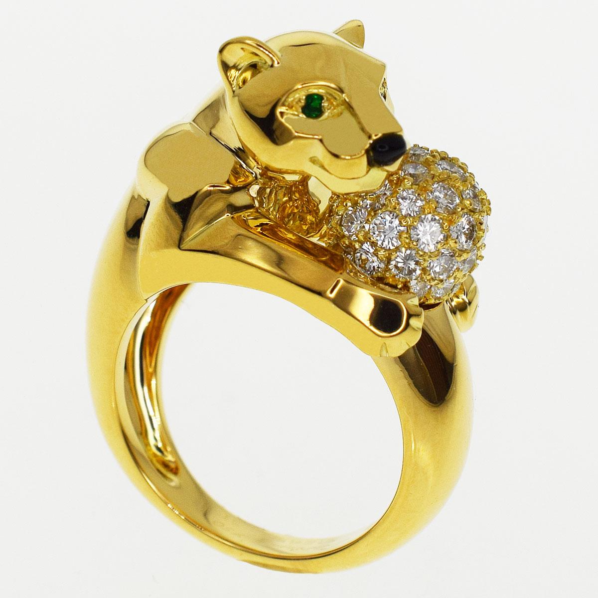 Cartier カルティエ パンテール ヴェドラ ダイヤ リング エメラルド オニキス 750 K18 YG イエローゴールド 日本サイズ約11号 ♯51【送料無料】【代引き手数料無料】レディース 指輪 パンサー【中古】32130216