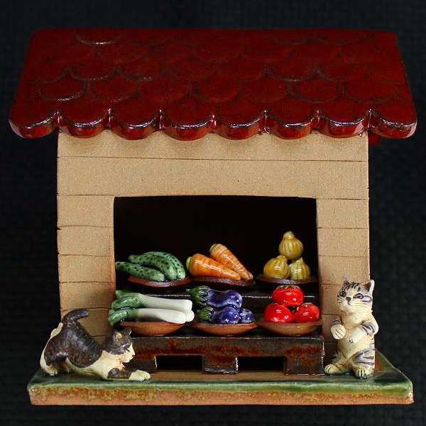 陶猫猫の八百屋さんすみ田理恵 作ねこのやきもの